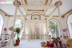A close-up of the beautiful floral mandap created for the wedding.