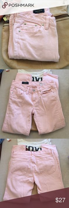 """J. Crew toothpick in pale peach. Light coral/peach jeans by J. Crew.  Size 26 ankle. 15"""" across waist.  7.5"""" front rise  27"""" inseam. Very cute color. The last pic shows a small ink spot. The rest of the jeans are in wonderful condition. J. Crew Jeans"""