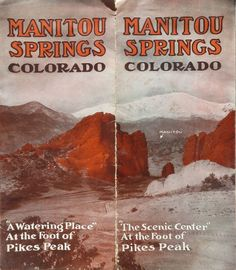 Manitou Springs Resort vintage Colorado travel brochure, 1919