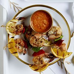 These Grilled Shrimp and Citrus Skewers make perfect finger food for holiday parties. #recipes | Health.com