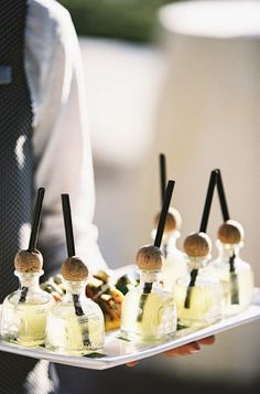 mini patron margaritas - reception ideas