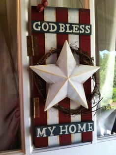 "ONLY 2 LEFT, Wooden USA Sign,  4th of July Sale ,  Patriotic Sign, ""God bless my home""  Wreath on Etsy, $40.00"