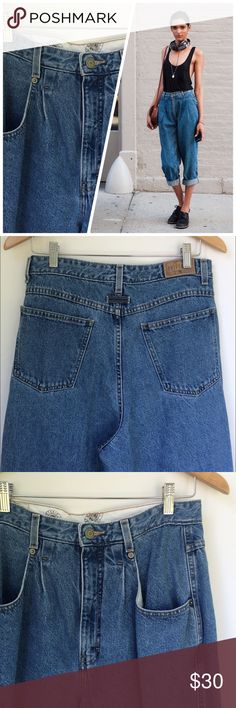 """Vintage pleated-front high waist mom jean 14 For sale is a pair of Pleated Front high waisted mom jeans.  Made by Brittania...which was popular in the 70s/80s!  Tag says 14 but please refer to the measurements to make sure they fit you. Medium wash, baggy fit.  Good Preowned condition with only minor signs of wear.  100% cotton.  Measurements are:  30"""" inseam, 13"""" rise, 42.5"""" length.  Laying flat waist is 15.5"""" and hips are 22"""".  Open to offers or save with bundling. Thanks for looking…"""