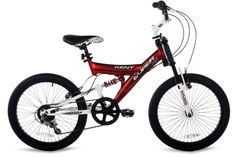 Bikes For Boys 20 Inch 7 Speed Twist Grip Shifting Welded Dual Suspension Red #Kent