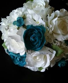 Teal and white bouquet www.simplysilksfw.com