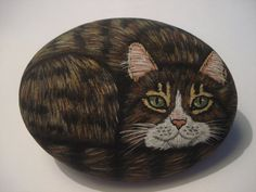 Brown tabby cat hand painted on a stone  pet by wildstonepainter, $16.00