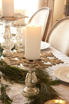 use glitter snowflakes under the candles
