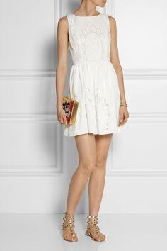 Alice + Olivia|Vinny embroidered cotton-poplin mini dress|NET-A-PORTER.COM