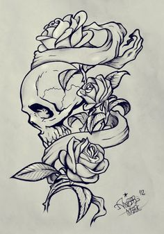 rose banners and skull                                                       …