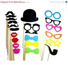 MEGA SALE Wedding Photo Booth Props  21 Piece by PropsOnSticks, $16.80