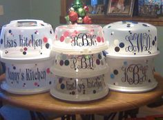 Teacher gifts - personalized cake carriers