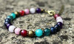 Multi Coloured Gem Bead Bracelet by ClareyfairyCreations on Etsy, £7.00
