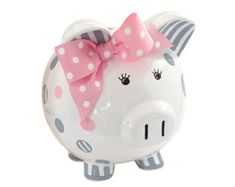 Hand painted & Personalized Dots and Stripes Piggy Bank Personalized Piggy Bank, This Little Piggy, Pink Paint Colors, Stripes Design, Pink Grey, Clay Design, Grey Paint, Hand Painted, Baby Items