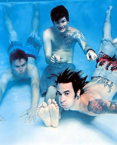3. Blink 182 I'm willing to go into a pool if they are! More relaxed and in-the-moment than the Nirvana cover- we could get some cool shots of them as they pierce through the surface etc.