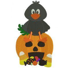 Little Crow Sitting on a Pumpkin Halloween Filled Machine Embroidery Design Digitized Pattern #halloween #embdoidery #appliques #crow