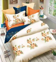 Krémovo granátové 3D posteľné obliečky s kvetinovým vzorom