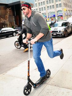 Scoot on Wolverine. Micro Kickboard, Micro Scooter, Electric Scooter, Hugh Jackman, My Black, Wolverine, Scooters, Kicks, Celebs