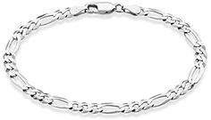 """MiaBella Solid 925 Sterling Silver Italian 5mm Diamond-Cut Figaro Chain Bracelet for Women Men, 6.5"""", 7"""", 7.5"""", 8"""", 9"""""""