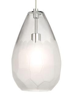 """LBL Lighting LP889LED827 Briolette Grande Single LED 9"""" Wide Pendant Bronze / Frost Indoor Lighting Pendants"""