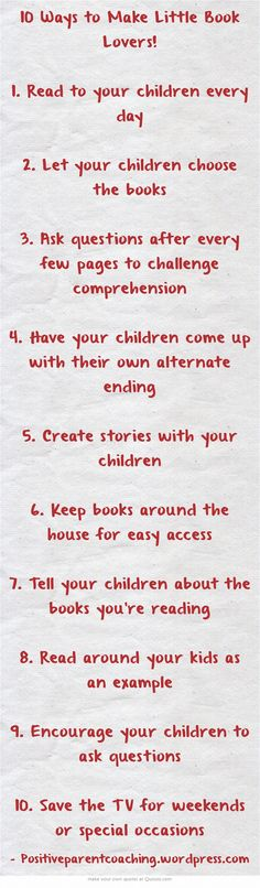 10 Ways to Make Little Book Lovers!
