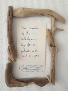 Driftwood glued on a cardboard frame (which is not a problem, as it is so lightweight). Cardboard Frames, Driftwood, Beach House, Summertime, Condo, Diy Crafts, Dreams, Crafty, Decoration