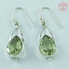 Lemon Quartz Stone 925 Sterling Silver Gorgeous Design Earrings E2852…