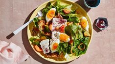 Eggs gets a healthy upgrade with quick-pickled veg and marinated feta.  breakfast idea omit bread