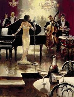 Unknown Artist Brent Heighton Jazz Night Out painting is available for sale; this Unknown Artist Brent Heighton Jazz Night Out art Painting is at a discount of off. Poster Jazz, Arte Jazz, Era Do Jazz, Musica Love, Tableaux Vivants, Jazz Bar, Jazz Club, Romantic Evening, Arte Pop