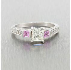 Estate Platinum  0.8 Ct. Diamond and Pink Sapphire Engagement Ring