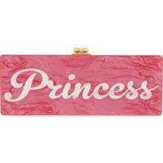 EDIE PARKER Flavia Princess box clutch ($1,650) ❤ liked on Polyvore featuring bags, handbags, clutches, purses, hot pink w white pearl, edie parker handbags, edie parker, pink hand bags, man bag and pink handbags