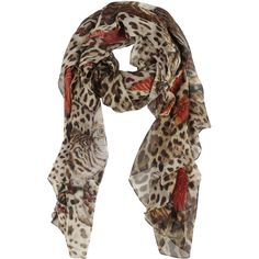 Dolce & Gabbana Cat Print Scarf found on Polyvore featuring accessories, scarves, brown, brown scarves and brown shawl