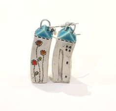 Small House Earrings with Blue roof tiny white ceramic by GUDAR