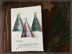 Weihnachtskarte mit Motivpapier als Weihnachtsbaum basteln