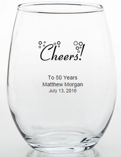 Cheers to 50 Years....Perfect custom 50th birthday party favor.  These custom glasses can be used for any birthday.