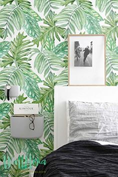 Monstera Leaves Pattern Wallpaper  Removable Wallpaper  Monstera Leaves Wallpaper  Wall Sticker  Monstera Self Adhesive Wallpaper ** You can find out more details at the link of the image.