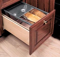 Cool idea, but would take up to much precious cabinet/drawer space - Stainless Steel Bread Box - Columbia CabinetWorks Kitchen Cupboard Doors, Kitchen Cabinet Storage, Custom Kitchen Cabinets, Custom Kitchens, Custom Cabinetry, Storage Cabinets, Storage Drawers, Home Kitchens, Kitchen Organization