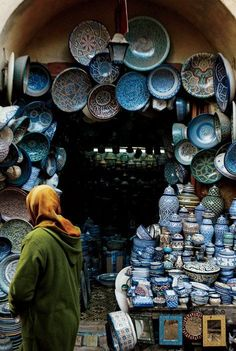 Traditional Fassi-style pottery was on display at Souk el Henna.
