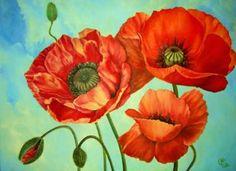"Saatchi Art Artist Ana Sekach; Painting, ""poppies"" #art"