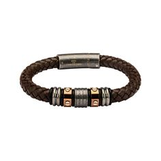 """Box DG Men/'s 8/"""" Gold Stainless Steel HORSESHOE Black Leather Bracelet*Unisex"""