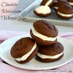 Chocolate Mascarpone Whoopie Pies - whoopie pies get a sweet upgrade with vanilla bean mascarpone filling! | ButtercreamBlondie.com