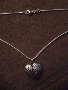 """Silver Heart Shaped Wings Pendant & 22"""" Snake Necklace Valentines  #Handmade #Pendant"""