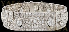 Art Deco Platinum Diamond Bracelet - Yafa Jewelry
