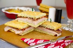 Italian Turkey Club Sandwich (on low carb focaccia) No Carb Recipes, Real Food Recipes, Cooking Recipes, Healthy Recipes, Healthy Baking, Delicious Recipes, Healthy Foods, Yummy Food, Low Carb Bread