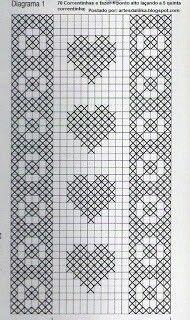 Embroidery Machine Table Patterns New Ideas Filet Crochet Charts, Crochet Diagram, Crochet Stitches Patterns, Knitting Charts, Cross Stitch Patterns, Crochet Curtains, Crochet Quilt, Crochet Cross, Cross Stitch Bookmarks
