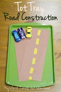 Car & Truck Themed Tot Trays - Road Construction | #TotTray #TotSchool