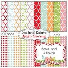 Spring  Digital Papers w Bonus Clip Art Label & Flower Spray by DigiScrapDelights Red, Aqua, Orange, Green