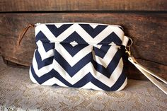 Pleated Chevron Wristlet/ Pouch/ Clutch// Nautical stripe / Navy/White color--READY TO SHIP-- by cindymars7 on Etsy https://www.etsy.com/listing/118157665/pleated-chevron-wristlet-pouch-clutch