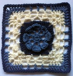 """The pattern is in both US & UK crochet terms.I have included an optional extra round in case the square is not quite to size as everyone crochets with different tension and yarns.Using a 5 mm hook, and crocheting all rounds, this square measured 8"""" for me after blocking."""