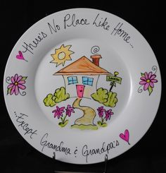 There's no place like home.except Grandma and Grandpa's! I love this plate I used this exact design and gave it to my mammaw for mothers day but I used mammaw and papaw instead of grandma and grandpa Sharpie Projects, Sharpie Crafts, Ceramics Projects, Pottery Painting, Ceramic Painting, Crafts To Do, Crafts For Kids, Memorial Day, Sharpie Plates