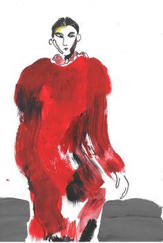 Prada A/W14 Illustration by Helen Bullock
